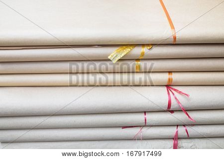 Stacks Of Do Paper, Made From The Bark Of The Rhamnoneuron Balansae Traditionally Produced In Many V