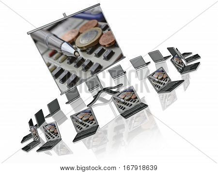 Laptops and screen white background 3D illustration.