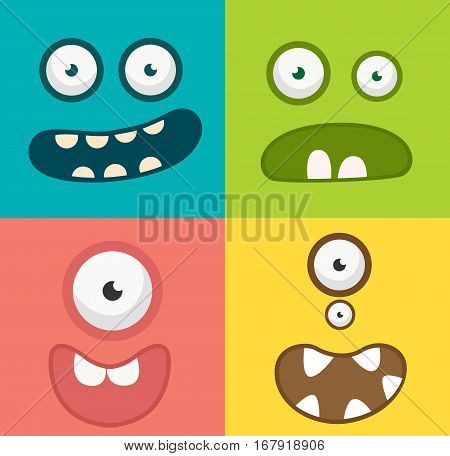 Monster face cartoon creature avatar illustration vector stock