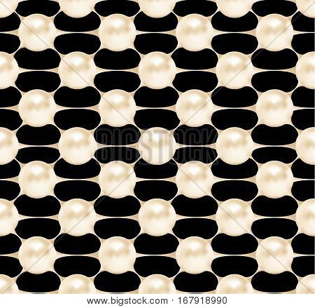 Cosmetic seamless pattern, pearls structure. Vector beauty illustration of clinically tested innovative product. Cosmetic skin, hair care treatment design