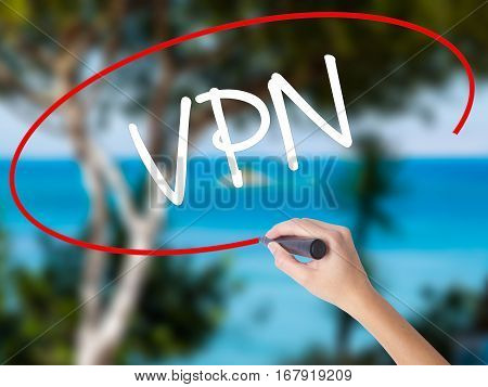 Woman Hand Writing Vpn (virtual Private Network) With Black Marker On Visual Screen