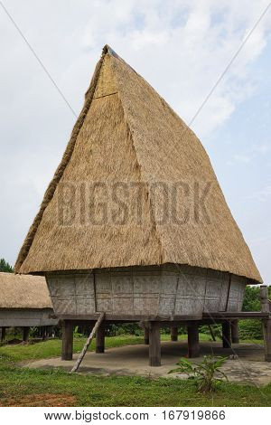 Typical House Of J'rai People In Central High Land Of Vietnam ( Rong House In Vietnamese)