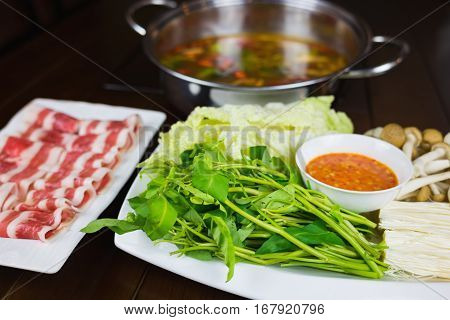Hot Pot Set With Beef Slides And Vegetable. Asian Food