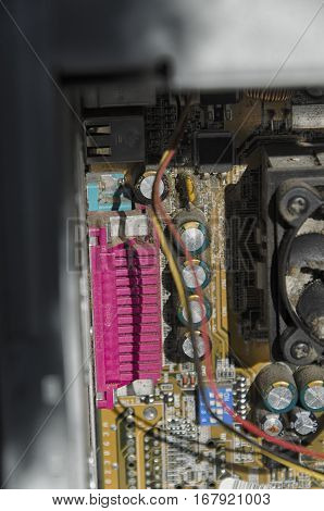 View of the motherboard of a computer
