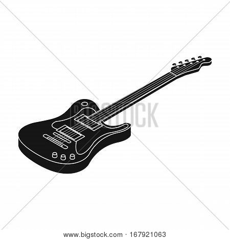 Electric guitar icon in black design isolated on white background. Musical instruments symbol stock vector illustration.