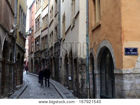 Lyon, France - December 20, 2016: The old house and the street. December 20 2016 in Lyon, France