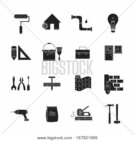 House repair vector line icons - construction, electricity, plumbing, home repair tools.
