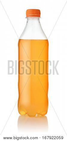 Small plastic bottle of orange soda isolated on white