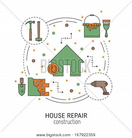 House repair  round concept made in modern line style. Overhaul with repair tools. Flat icons isolated vector illustration.Can be used for infographics design, web elements.