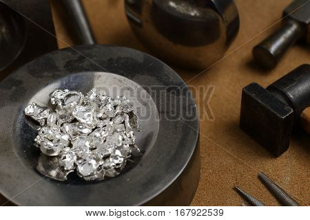 Tools Of Jewellery. Jewelry Workplace On Leather Background.