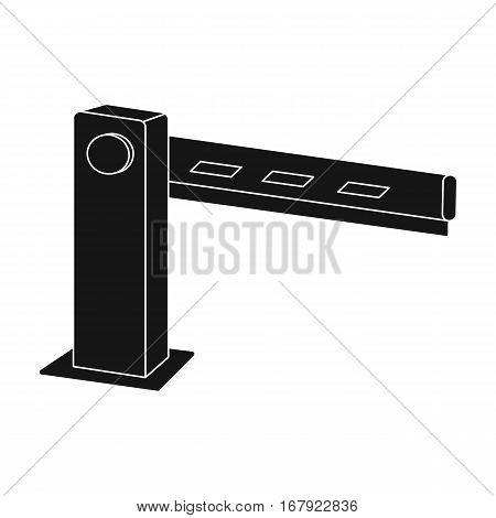 Parking barrier icon in black design isolated on white background. Parking zone symbol stock vector illustration.
