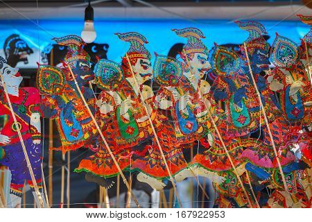 BANGKOK THAILAND - JANUARY 14 2016: Thai traditional shadow puppets displayed at the celebration of Thai Traditional Culture Festival at Lumpini Park