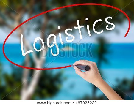 Woman Hand Writing Logistics With Black Marker On Visual Screen