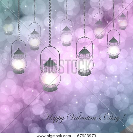 Vector  illustration with lamps on a pink  purple background with bokeh and light. Happy Valentines Day Card Design. 14 February. Postcard Valentine's Day.