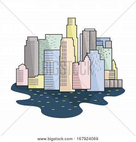 Megalopolis icon in cartoon design isolated on white background. Architect symbol stock vector illustration.