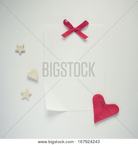Love card with heart, stars,cookies,bow,empty paper sheet for your text, Valentine's romantic card