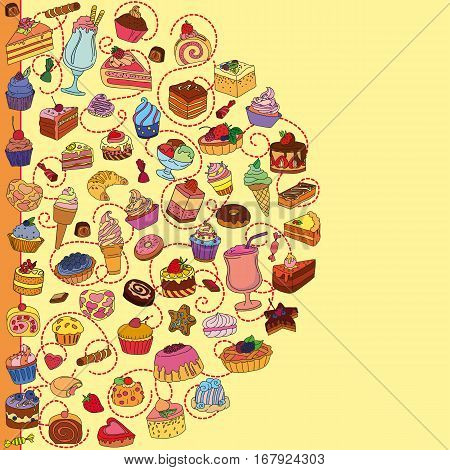 Vector set of different sweets. Background with sweets. Sweets icon. Sweets logo.