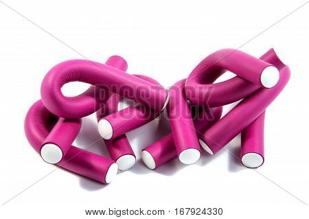 curlers set elegance style on a white background