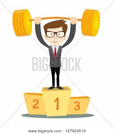 businessman winner standing in first place on a podium he lifts up heavy barbell with dollar sign. Vector illustration for business financial strength concept.