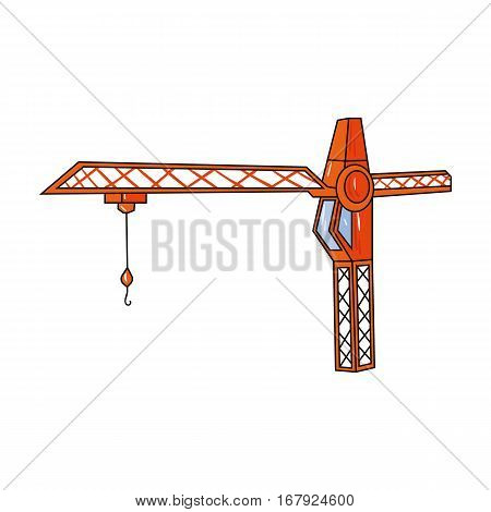 Building crane icon in cartoon design isolated on white background. Architect symbol stock vector illustration.