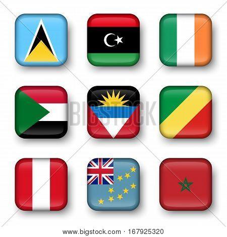 Set of world flags quadrangular badges ( Saint Lucia . Libya . ireland . Sudan . Antigua and Barbuda . Republic of the Congo . Peru . Tuvalu . Morocco )