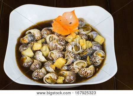 Stir-fried Snail With Tamarind, Specialty Food In Mekong Delta, Vietnam. Asian Food