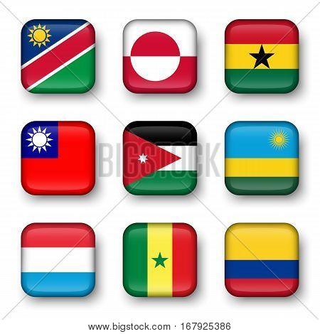 Set of world flags quadrangular badges ( Namibia . Greenland . Ghana . Taiwan . Jordan . Rwanda . Luxembourg . Senegal . Colombia )