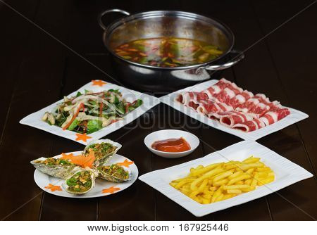 Set Of Asian Food With Fried Crispy Potato, Barbecue Geoduck With Onion And Grease, Shrimp Stir-frie