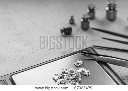 Jewelry Tools. Jewellery. Goldsmith Workplace, Workspace On Light Background. Hand Craft. Workshop.