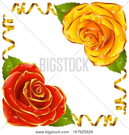 Corner vignette from the Rose Heart and Swirl Ribbons. Red and Yellow Flowers with Gold Trim and Golden Streamers. Valentines Day, Wedding celebration or Romantic Lovely Design. Vector Illustration
