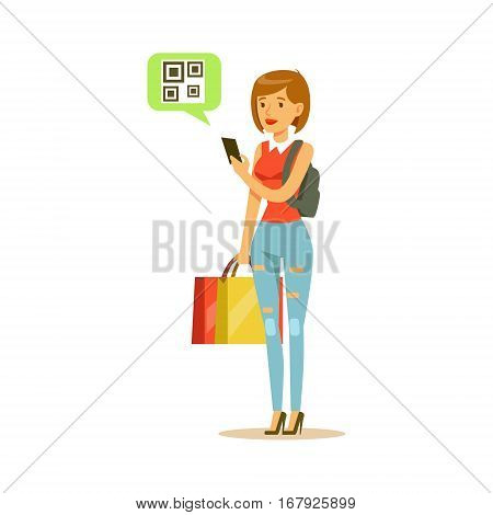Woman Registering QR Code Shopping In Department Store , Cartoon Character Buying Things In The Shop. Colorful Vector Illustration With Happy People In Supermarket.