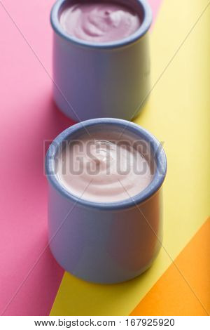 Yoghurts Assortment  In Ceramic Bowls On Colorful Background. Natural And Fruit Healthy, Diet, Gourm