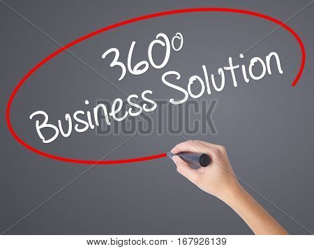 Woman Hand Writing 360 Business Solution With Black Marker On Visual Screen