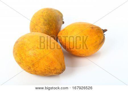 Ripe of canistel Egg fruit Tiesa fruit on the white background.