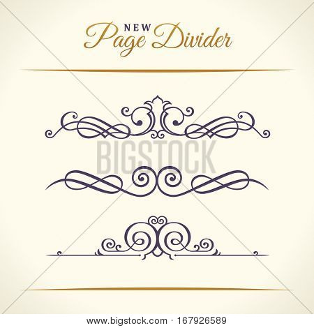 New Calligraphic Page Dividers and Elements of vintage ornament. Elements set for retro logos and vector crest, decorative border line. Gold royal border book