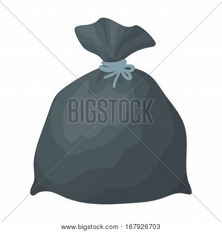 Garbage bag icon in cartoon design isolated on white background. Cleaning symbol stock vector illustration.