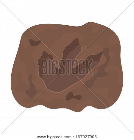 Rock with dinosaur footprint icon in cartoon design isolated on white background. Dinosaurs and prehistoric symbol stock vector illustration.