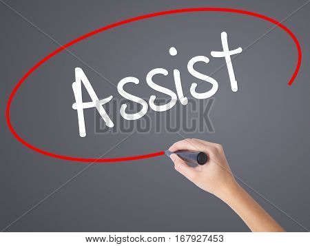 Woman Hand Writing Assist With Black Marker On Visual Screen.
