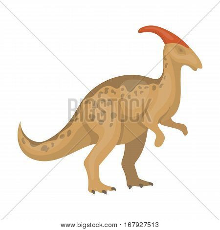 Dinosaur Parasaurolophus icon in cartoon design isolated on white background. Dinosaurs and prehistoric symbol stock vector illustration.