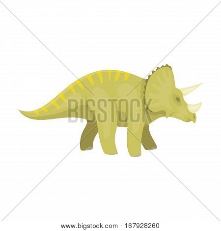 Dinosaur Triceratops icon in cartoon design isolated on white background. Dinosaurs and prehistoric symbol stock vector illustration.