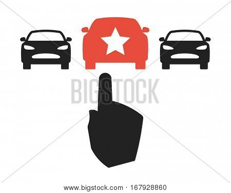 Car Choice - sign with three cars and hand pointing on the red car in the middle.