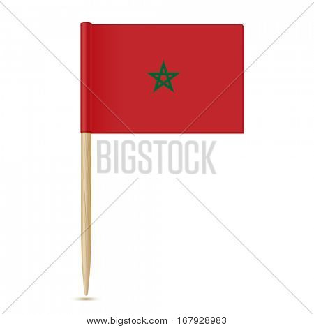 Flag of Morocco. Flag toothpick isolated on white background 10eps