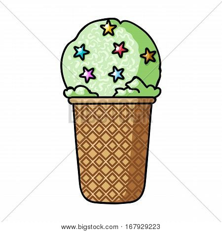 Ice cream in waffle cup icon in cartoon design isolated on white background. Ice cream symbol stock vector illustration.