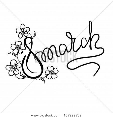 Happy 8th of March lettering, the international women's day lettering. Vector illustration