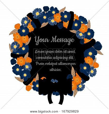 Funeral frame with flowers, bow and place for your text. Mourning card. Isolated illustration.