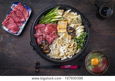 Sukiyaki in traditional Cast Iron Pot