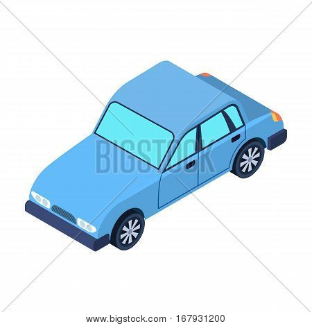 Car icon in cartoon design isolated on white background. Transportation symbol stock vector illustration.