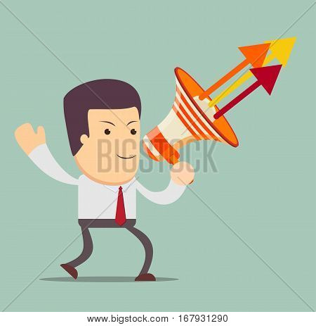 Young businessman with a megaphone, Business concept