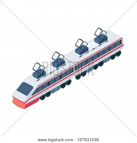 Train icon in cartoon design isolated on white background. Transportation symbol stock vector illustration.