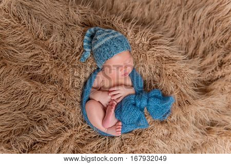 Newborn dressed in a hat and wpapped in scarf, sleeping on a fluffy blanket, topview poster